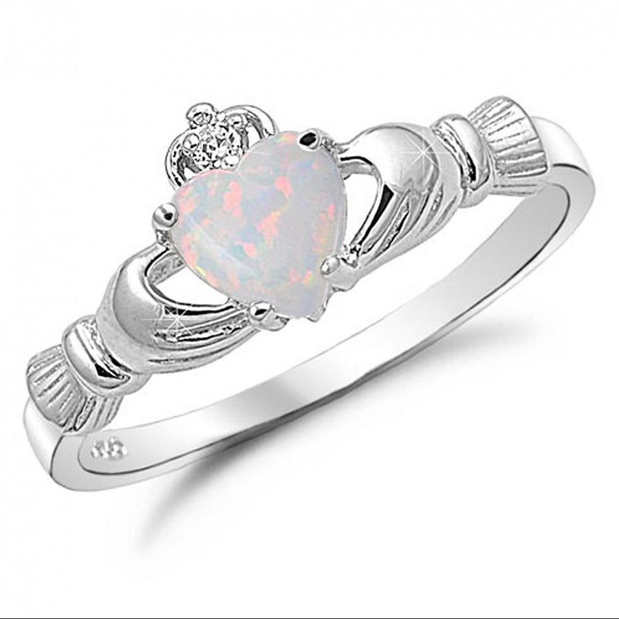 زفاف - Opal Ring, October Birthstone Claddagh Ring, Irish Claddagh with Lab Opal Ring, Sterling Silver  Irish Claddagh Ring, Promise Ring for her