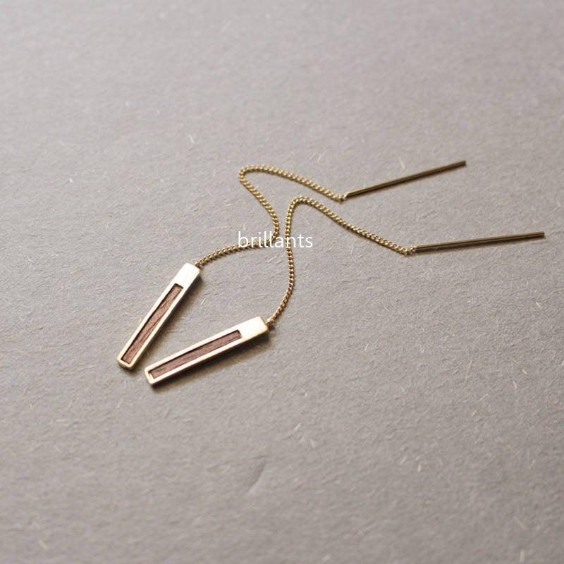 زفاف - Wood Bar Threader earrings, Ear threader, Gold, Rose gold, Silver, Bar earrings, Geometric, Bridesmaid gift, Everyday, Minimal, Simple