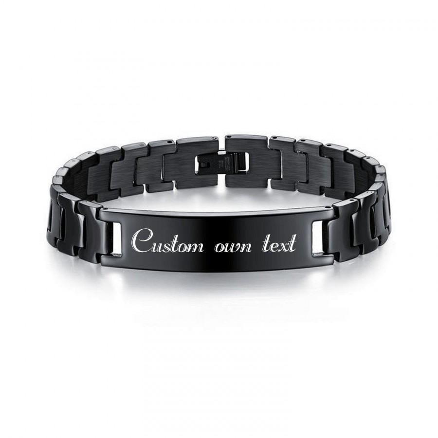 زفاف - Personalized Stainless Steel Engraved Bracelet, Custom own text, Customize engraved bracelet, Men's bracelet. Custom Engraved Link Bracelet