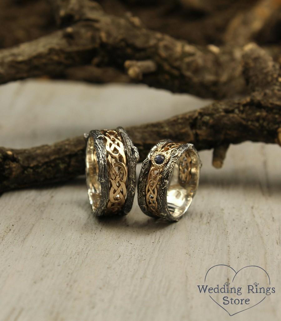 زفاف - Celtic pattern and tree bark matching wedding bands with sapphire, His and her celtic bands set, Tree rings set, Couple celtic bands