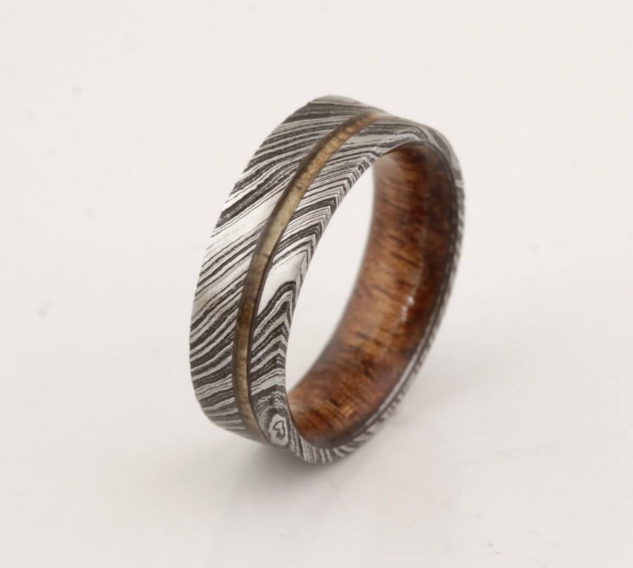 زفاف - wood ring DAMASCUS steel ring wood wedding band man ring HAWAIIAN KOA ring wood band inside wood band
