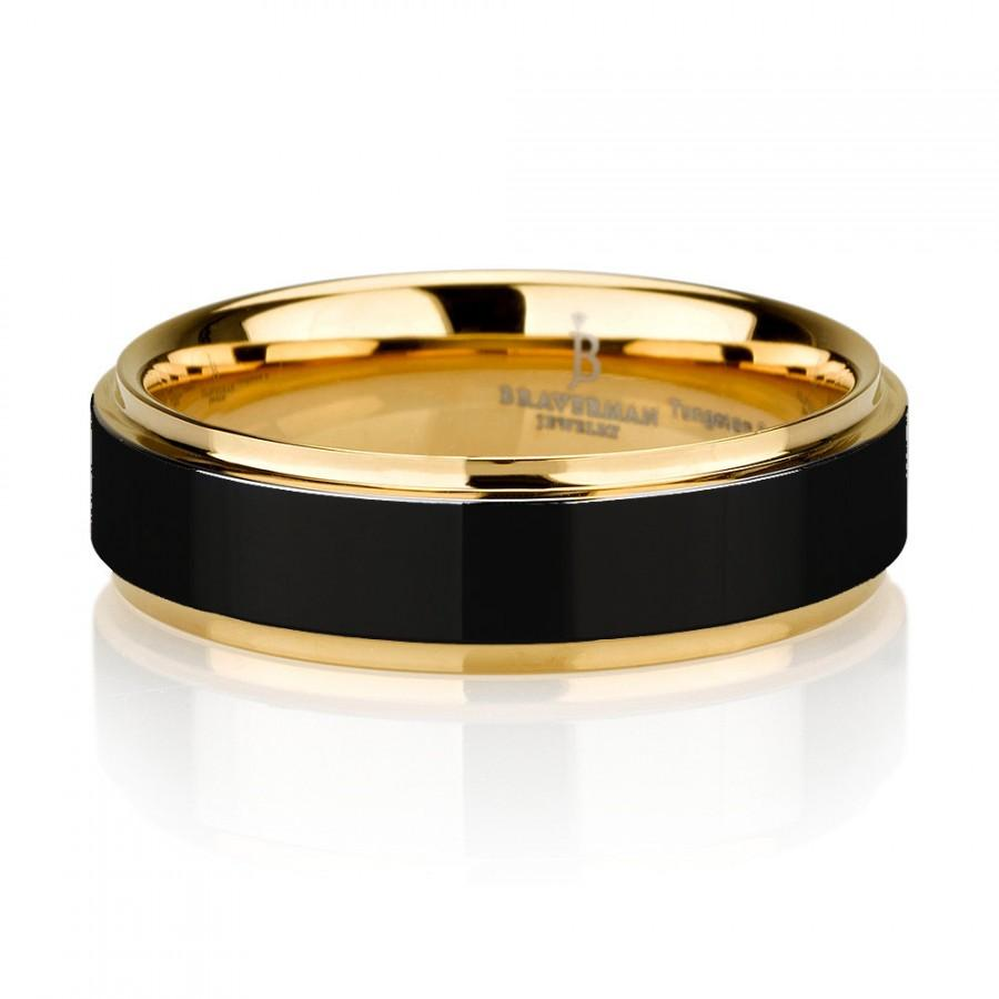 Свадьба - Black Tungsten Ring Yellow Gold Wedding Band Ring Tungsten Carbide 8mm 14K Tungsten Ring Man Wedding Band Male Women Custom Anniversary Size