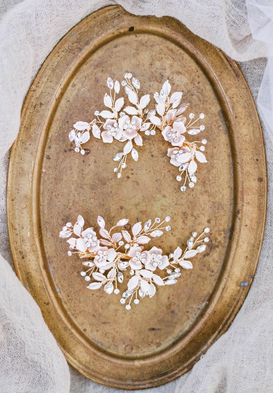 زفاف - Bridal Headpiece PHILLIPA Bridal Rose Gold Hair Clip Swarovski Crystal Flowers Hair Clip Rose Gold Wedding Bridal Headpiece Bridal Leaf Comb