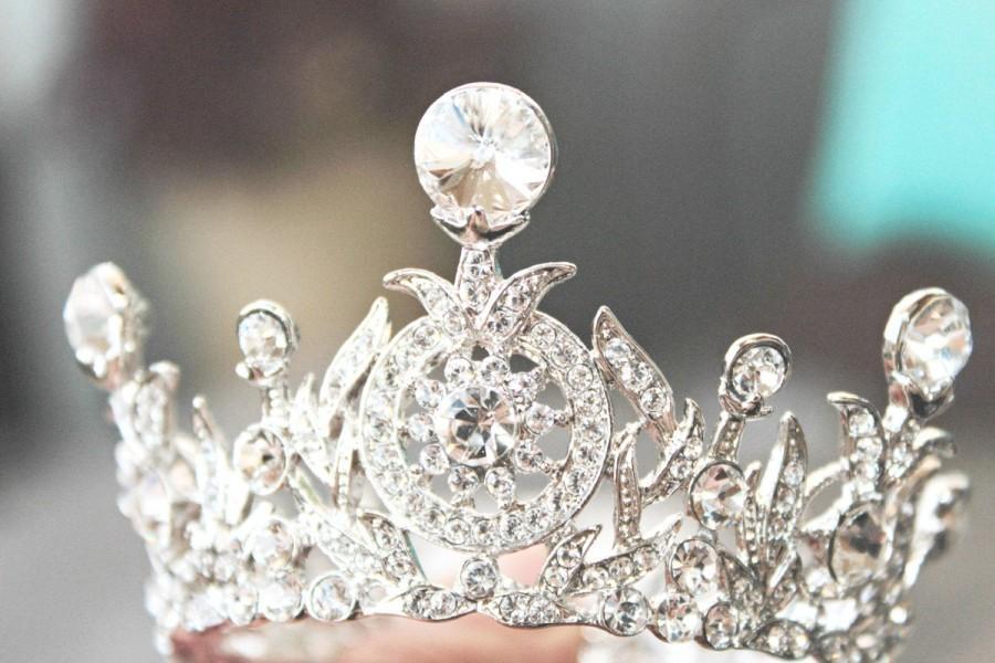 Mariage - Edwardian Flower Girl Full Crown, Swarovski Crystal Bridal Bun Wrap Crown, Communion Crown,Tiny Crown,Petite Flower Girl Crown- TANYA-2