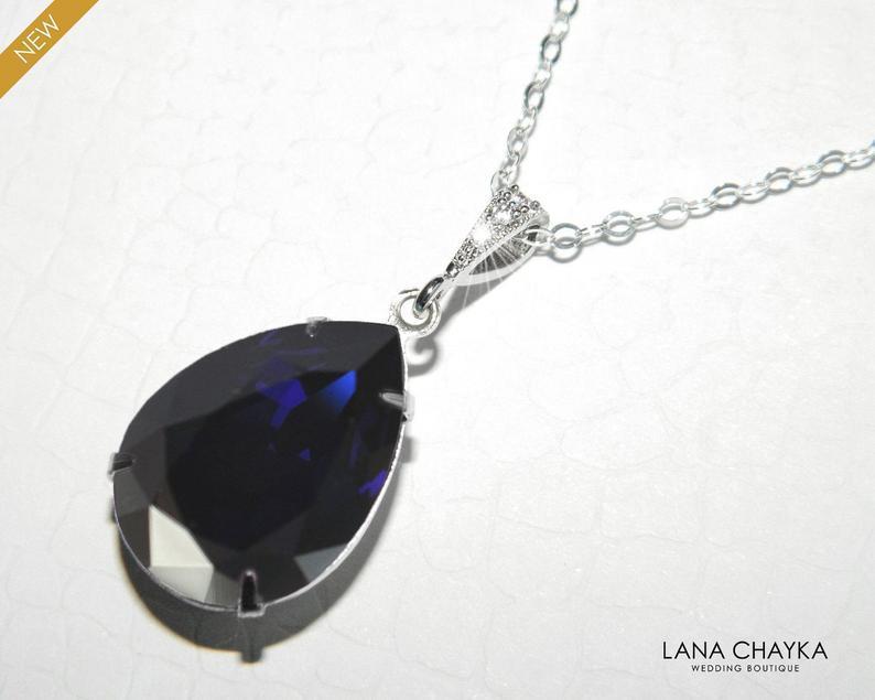 Wedding - Navy Blue Crystal Necklace, Swarovski Dark Indigo Pendant, Dark Blue Silver Necklace, Wedding Navy Blue Jewelry, Deep Blue Bridal Necklace