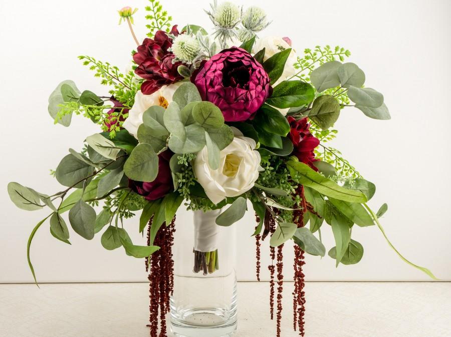 Mariage - Burgundy Wedding Bouquet Set, Boho Bridal Bouquet, Cascading Silk Flower Bouquet Wedding Package, Bridesmaid Bouquets, Elopement Flowers