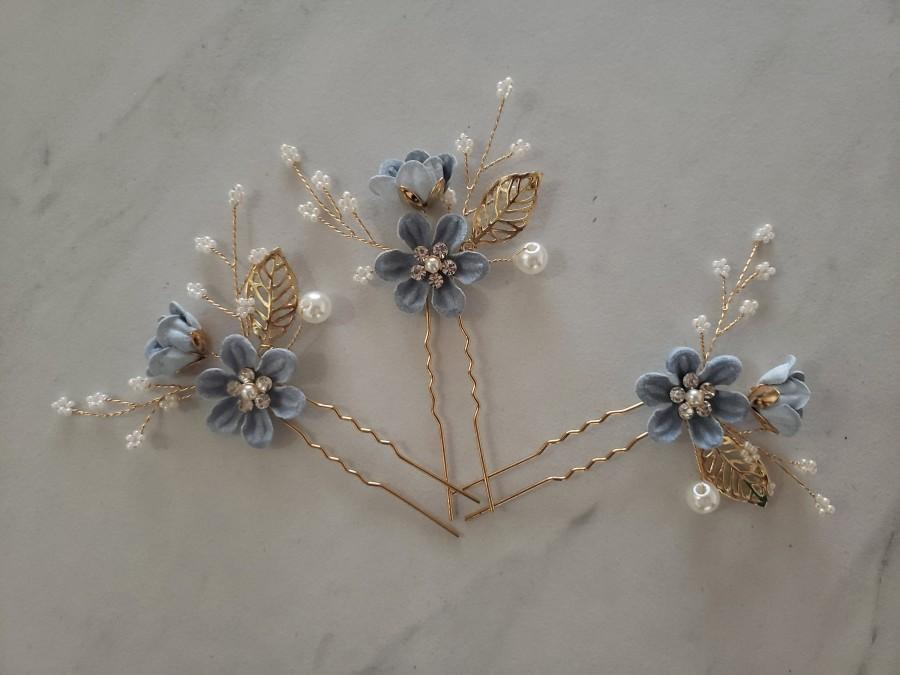 Wedding - Bridal Hair Pins, Pearl Crystal Flower Wedding Hair Pins, Hair Jewelry Hair Vine Wedding Hair Accessory, Periwinkle Blue and Gold Hair Piece