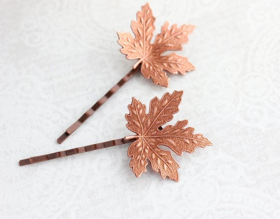 Wedding - Maple Leaf Bobby Pin, Two Piece Set, Copper Rose Ox, Leaves for hair, Grecian Bridal, Nature Accessories Woodland Wedding Bridesmaids Gift