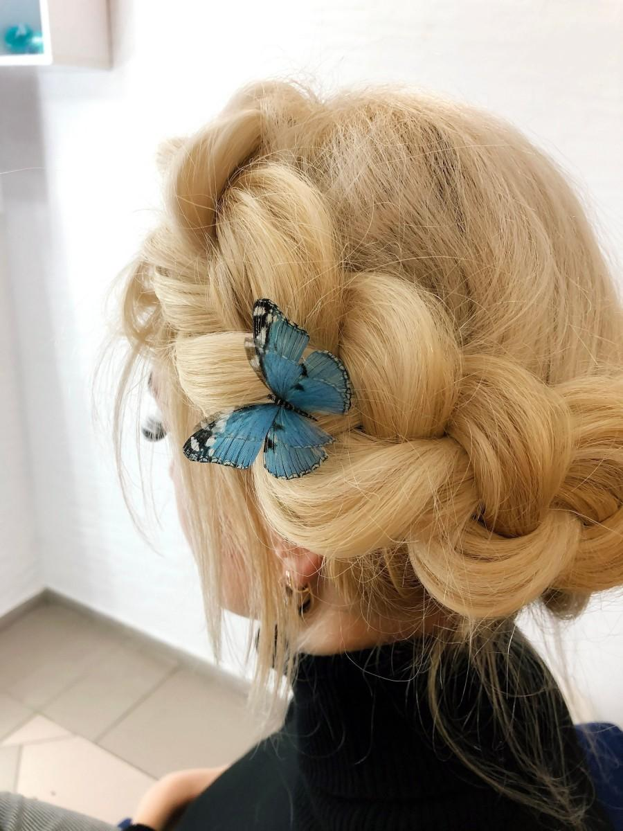 Wedding - Boho Chic HairPin with Blue Silk Butterfly Wings for those who Love Butterflies, Butterfly Hair Clip for amazing Hairstyle on Winter Party