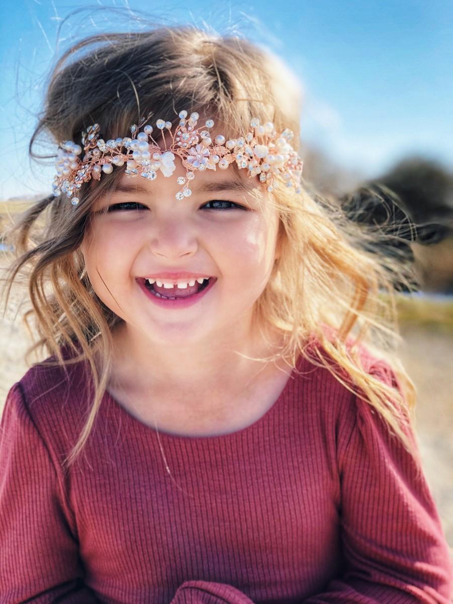 Wedding - Flower Girl Crown, Flower Girl Headband, Floral Hair Crown, Rose Gold Hair Wreath