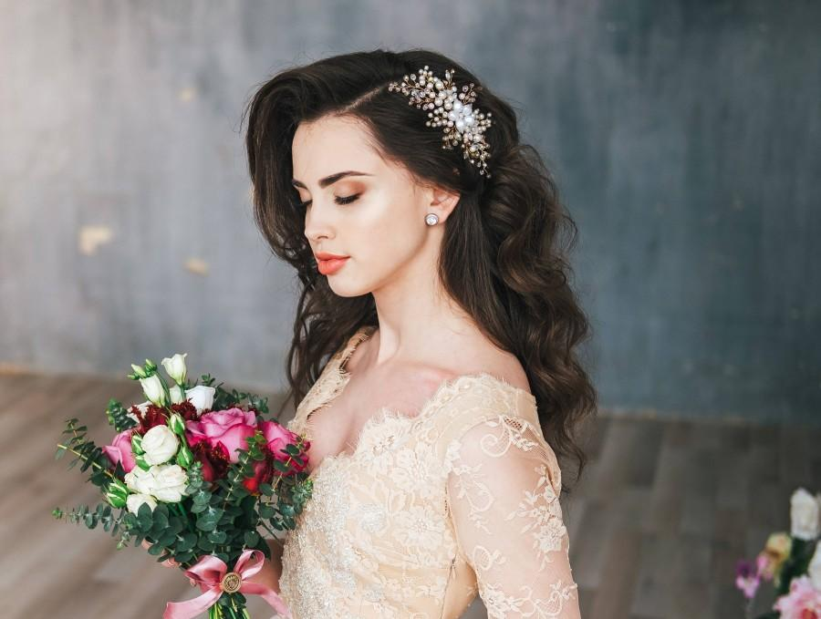 Wedding - Bridal Headpiece, Pearl Hair Comb, Flower Hair Comb, Flower Headpiece, Crystal Pearl Wedding Headpiece, Rose hair comb, Hair accessories