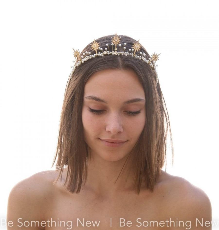 Wedding - Gold Star Celestial Wedding Crown Rhinestone and Pearl  Headpiece Metal Star Headband Boho Wired Gold Tiara Star Hair Jewelry