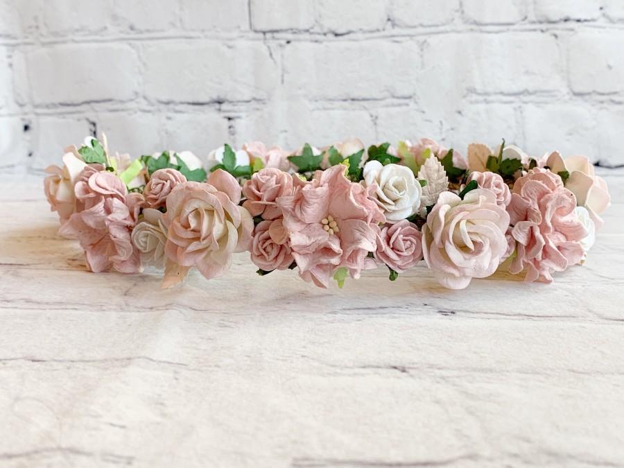 Wedding - Blush Flower Crown, Pink Flower Crown,Flower Girl Flower Crown,Bridal Flower Crown,Floral Headpiece,Flower Crown Bridal,Baby Flower Crown
