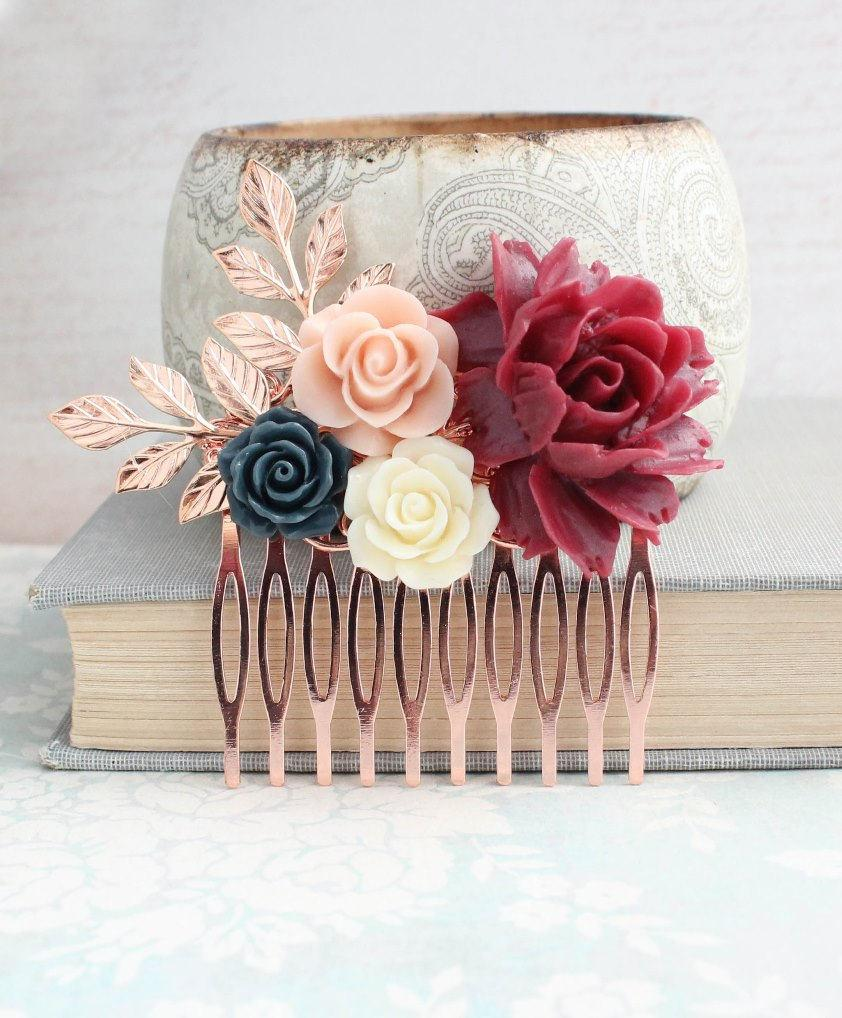 Wedding - Floral Hair Comb Rose Gold Leaves Branches Marsala Red Wine Rose Bridal Hair Piece Flowers Bridesmaids Gift Navy Blue and Pale Blush Pink