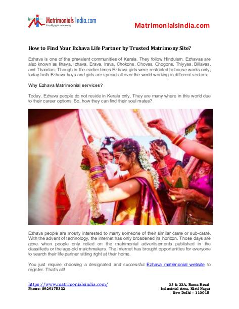 Wedding - How to Find Your Ezhava Life Partner By Trusted Matrimony Site