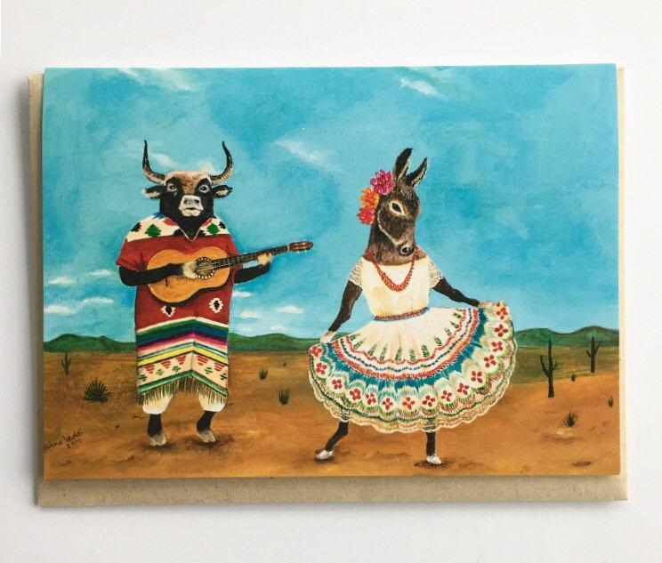 Wedding - La Serenata Single Card, donkey card, bull, guitar, Mexican folk dance, wedding card, anniversary, engagement, Quinceañera, by Jahna Vashti