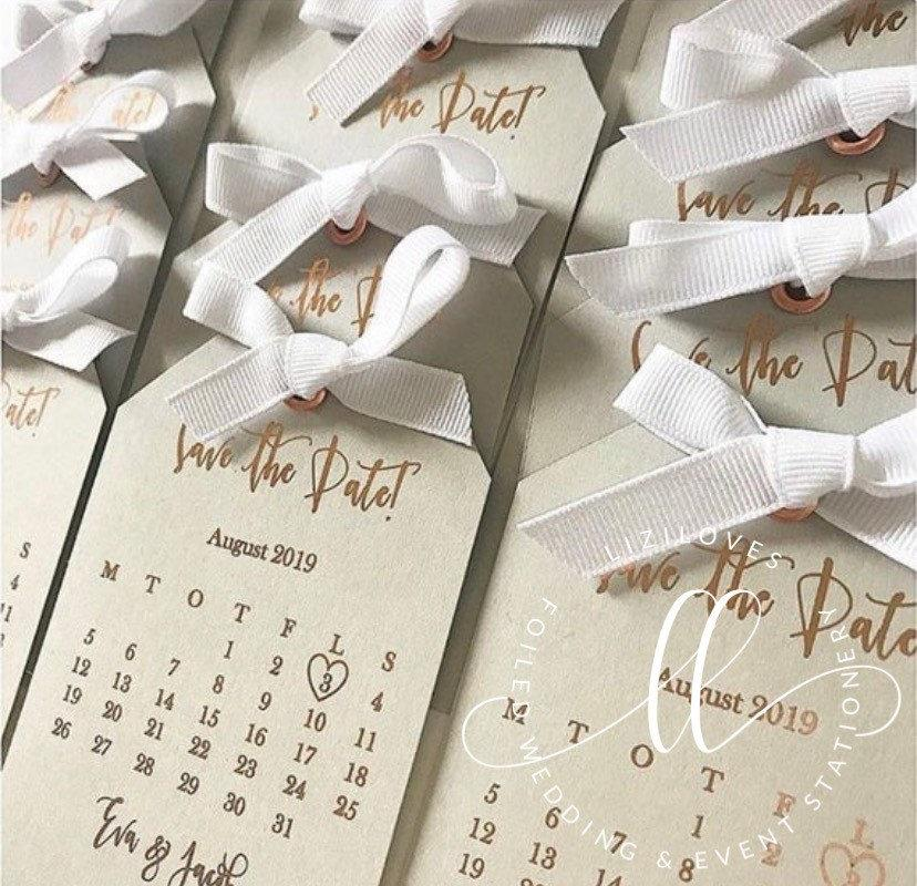 Wedding - Save the date calendar tag grey with gold foil silver gold rose gold