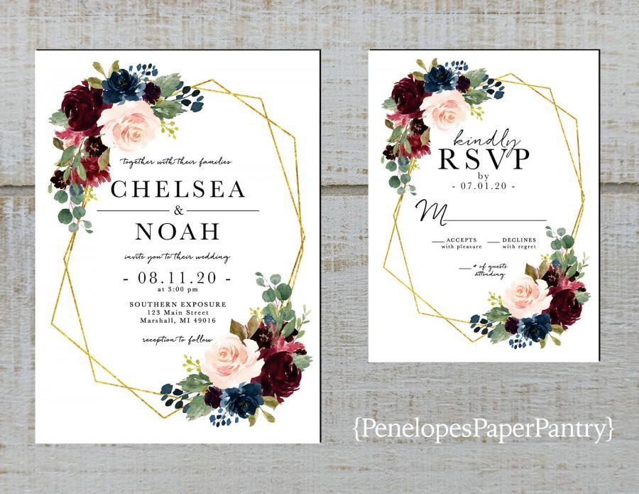 Wedding - Elegant Floral Geometric Frame Fall Wedding Invitation,Burgundy,Blush,Navy,Roses,Gold Print,Shimmery,Printed Invitation,Wedding Set,Custom