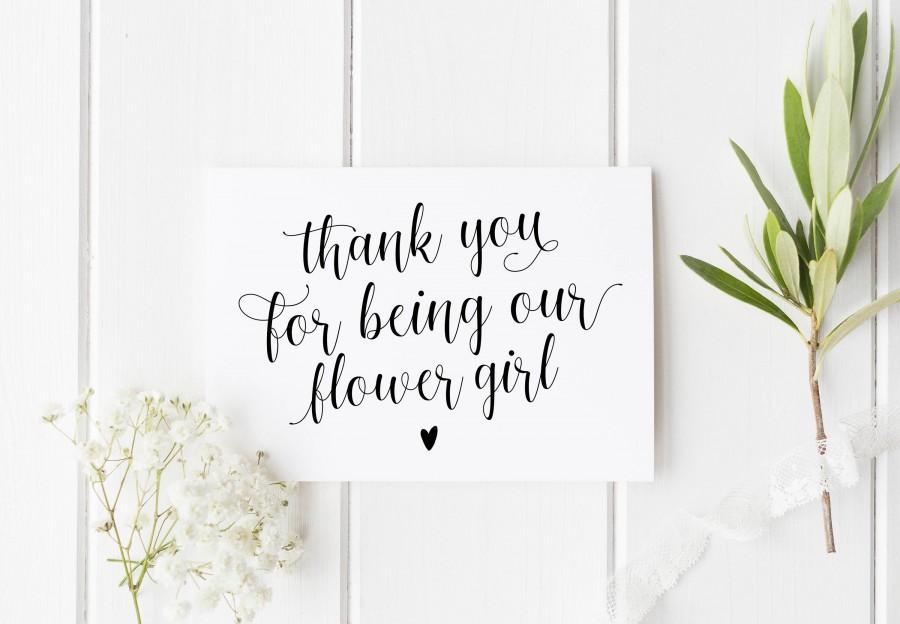 Wedding - Thank You Flower Girl Card, Pretty Flower Girl Card, Wedding Thank You Card, Calligraphy Flower Girl Card, Niece Wedding Card, Bridesmaid