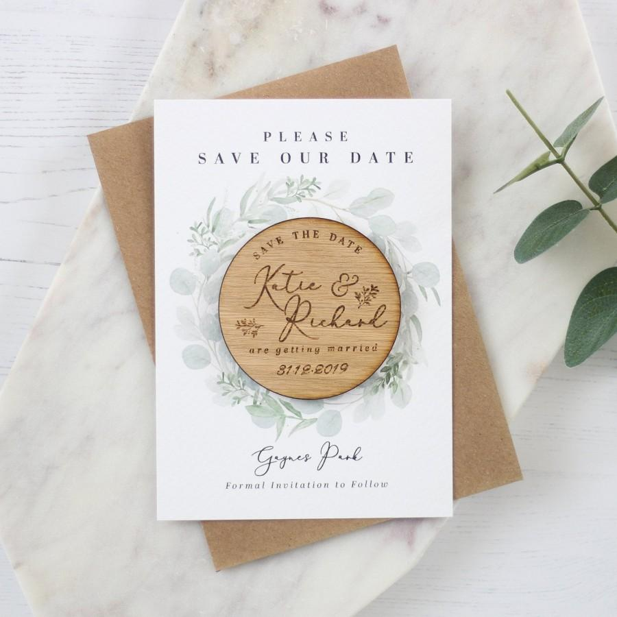 Wedding - Rustic Wooden Magnet Wedding Save the Date
