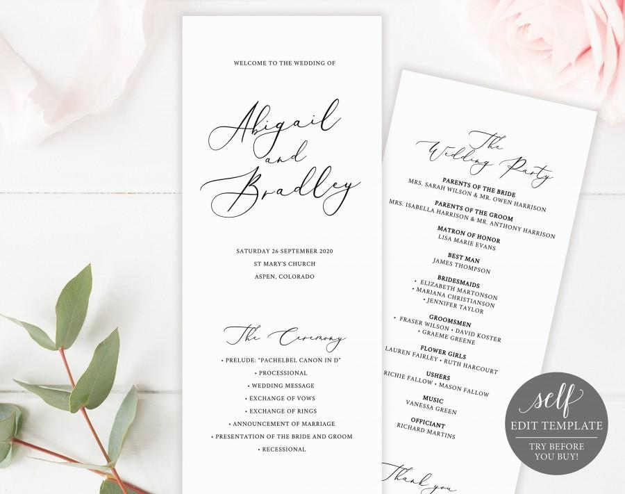 Wedding - Wedding Program Template, TRY BEFORE You BUY, Printable Order of Service, Instant Download, 100% Editable, 3.5x8.5, Ceremony Program