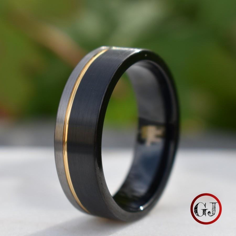 Свадьба - Tungsten Ring Black and Silver Brushed with Gold Accent, Mens Ring, Mens Wedding Band