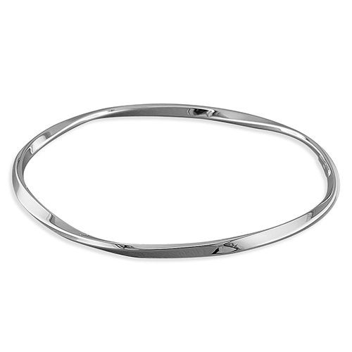 Wedding - Medium Flat Twisted Slave Sterling Silver Bangle