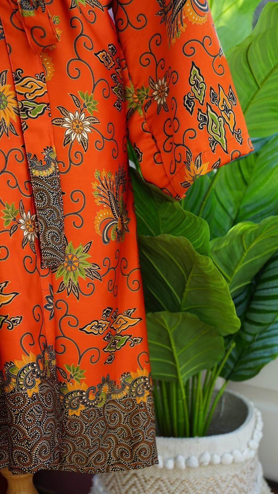 Wedding - Long orange silk Kimono Robe, mothers day, Dressing gown, Vintage kimono, Bridesmaid robes, Boho, Bridal Robe, gifts for her, Kimono Dragon