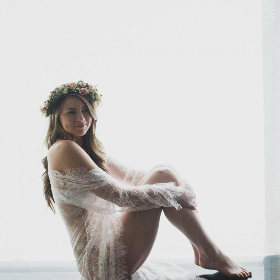 Wedding - Bridal Lace robe, Lace Robe For Bride, Lace Robe for Boudoir Photography, Honeymoon Lingerie, Getting Ready for your wedding day