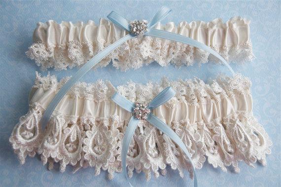 Свадьба - Ivory bridal blue wedding garter set,  Wedding garter set,  Garters