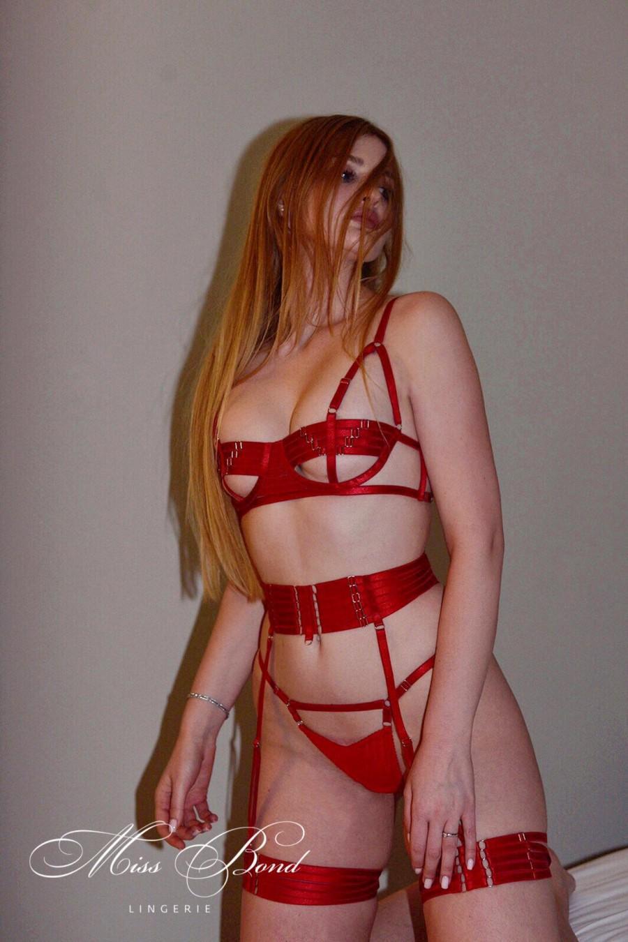 Wedding - Red harness lingerie set, see through lingerie, sexy lingerie, sheer erotic lingerie, bdsm lingerie, wedding bridal honeymoon lingerie
