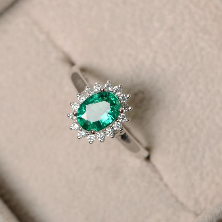 Wedding - Lab grown emerald ring, may birthstone, sterling silver, promise ring