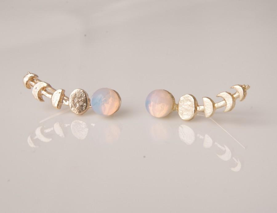 Wedding - Moon Phase Moonstone Ear Climber Earrings Unique Gifts For Women Statement Earrings Celestial Jewelry For Friends