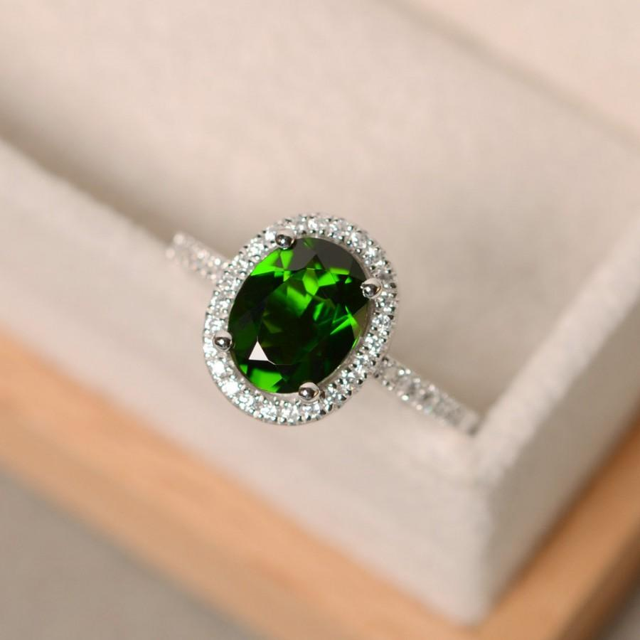 Wedding - Chrome diopside ring, engagement ring, oval cut, halo ring diopside