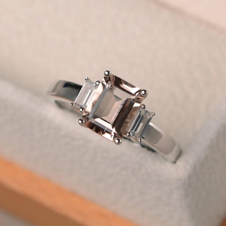 Wedding - Engagement ring, natural pink morganite, emerald cut pink gemstone, three stones ring, sterling silver ring