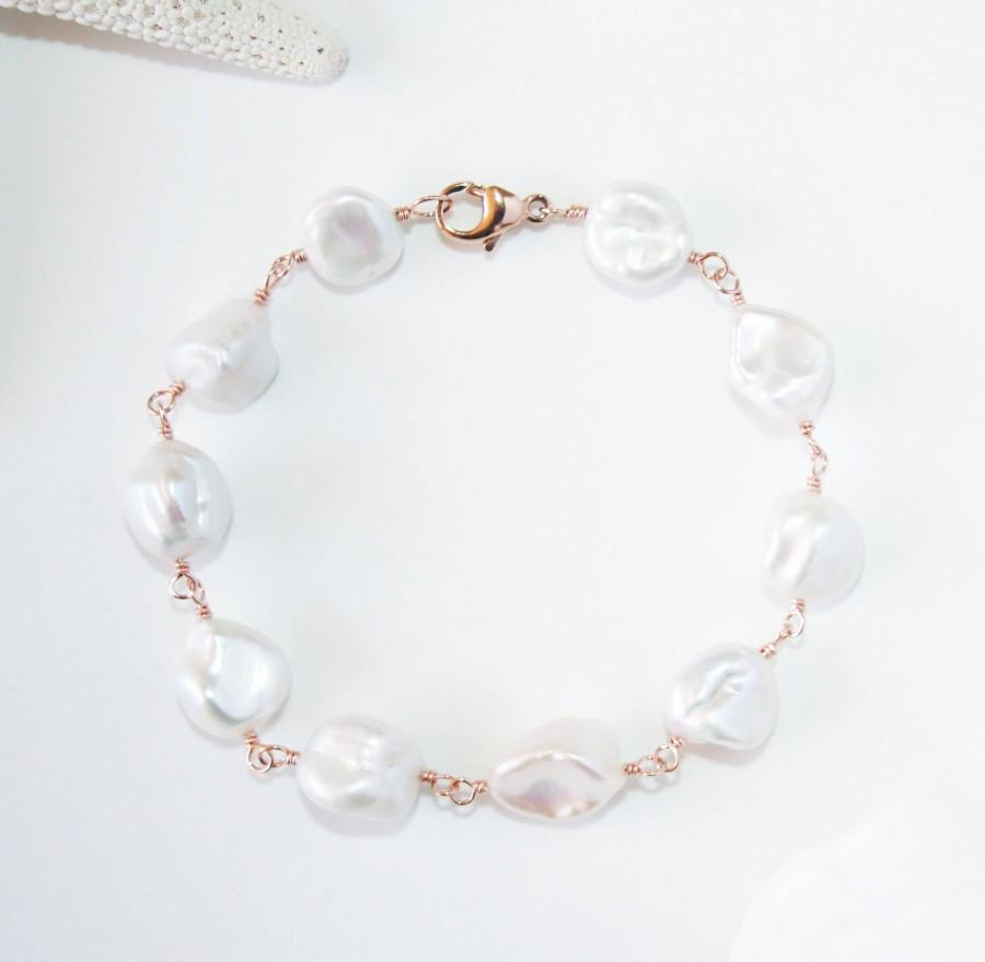 Wedding - Unique White Keshi Pearl Bracelet, 14K Rose Gold Filled, Genuine Freshwater Baroque Pearls, June Birthstone, Bridal Jewelry, Gift for Her