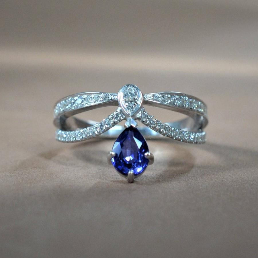 زفاف - Sapphire Engagement Ring Vintage Gold Diamond Wedding ring set Women Bridal Jewelry Pear Shaped Cut Stacking Alternative Anniversary Unique