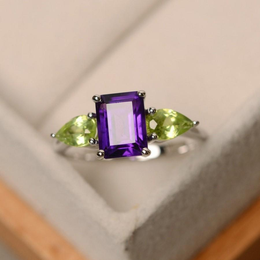 زفاف - Amethyst ring, promise ring, three stone ring, sterling silver