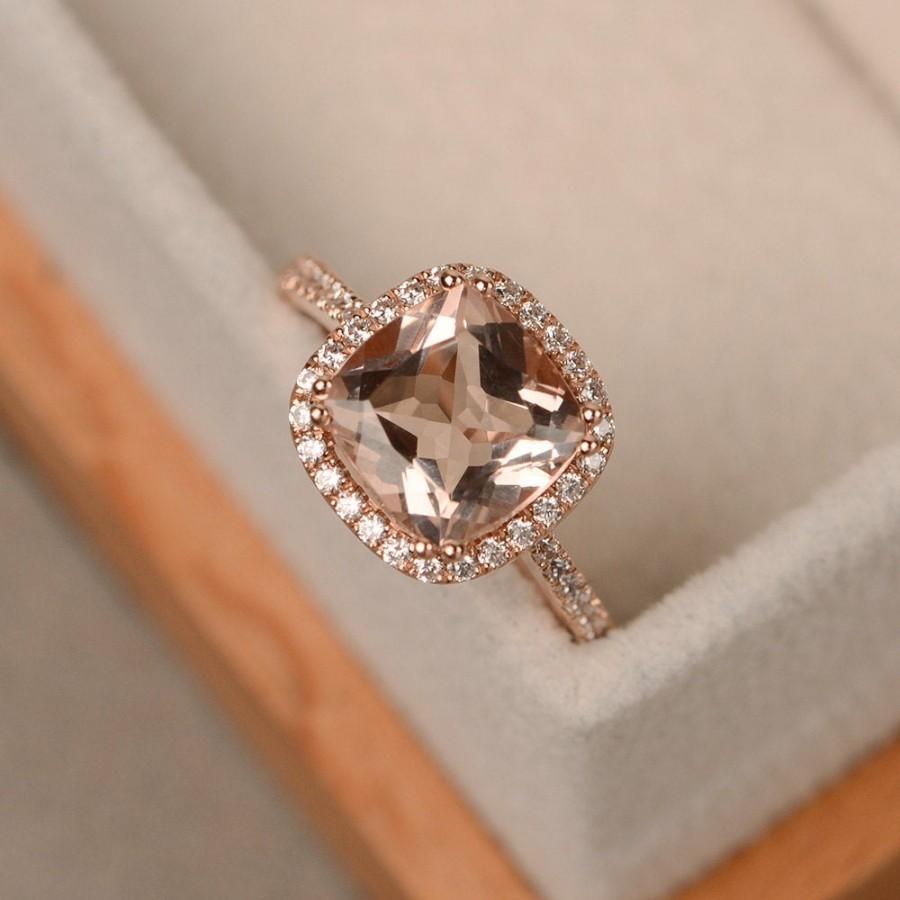 Wedding - Morganite ring, rose gold, pink morganite, engagement rings, gemstone ring, cushion cut