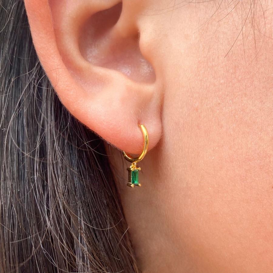 Wedding - Minimalist dainty cz baguette , Gold hoop earrings with charm, green earrings, Huggie hoop earrings, gift for woman, baguette cz earrings