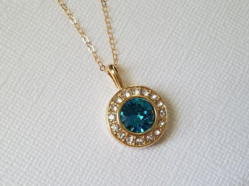 Wedding - Teal Gold Crystal Halo Necklace, Swarovski Indicolite Pendant, Wedding Peacock Jewelry, Bridal Teal Necklace, Peacock Gold Round Pendant