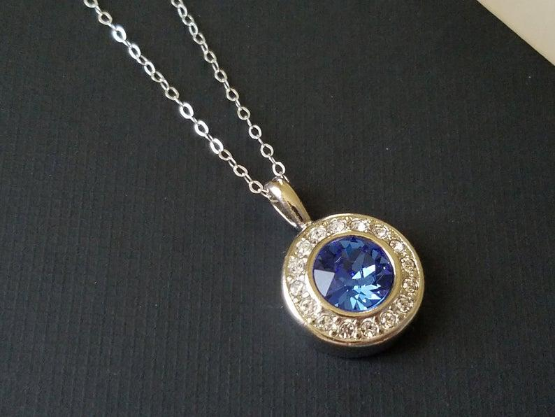 Wedding - Sapphire Silver Necklace, Swarovski Sapphire Halo Pendant, Blue Crystal Wedding Necklace Sapphire Jewelry Blue Round Pendant Bridal Necklace