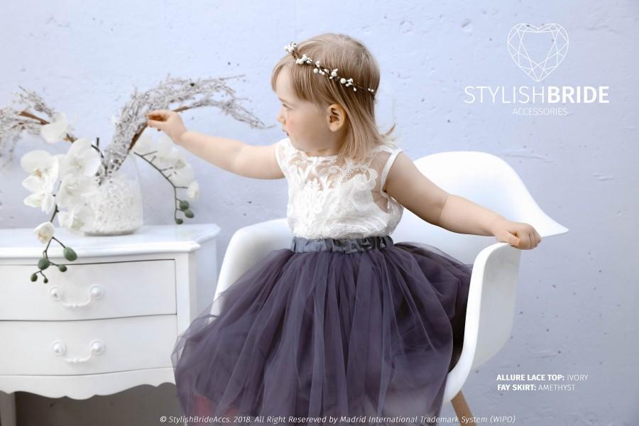 Wedding - Flower Girl Dress, Tulle Lace Dress Allure Lace, Baby Lace Top Sleeveless, Flower Girl Tulle Dresses, lace flower girl, ivory flower girl