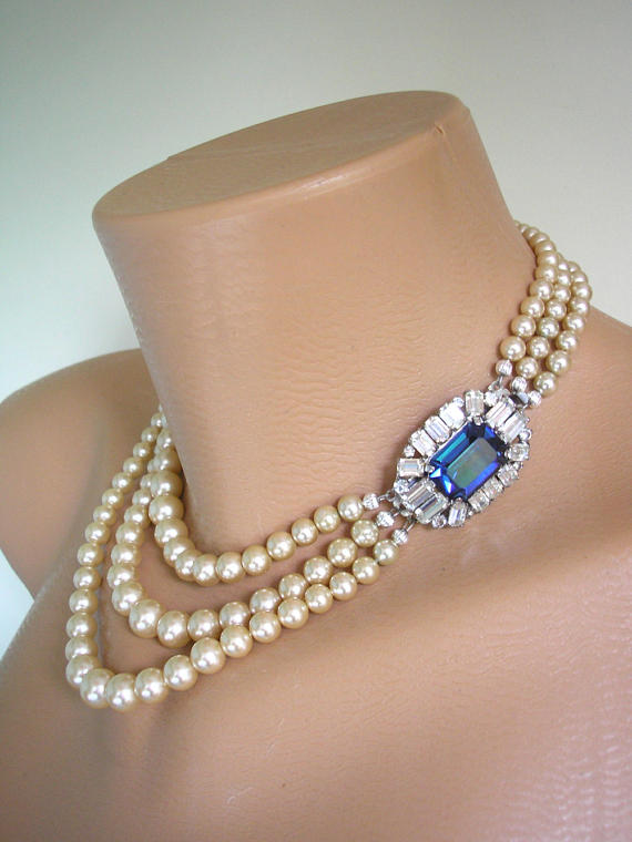 Wedding - Sapphire and Pearl Necklace - SOLD - 2 Strand Available. Please Contact To Enquire.