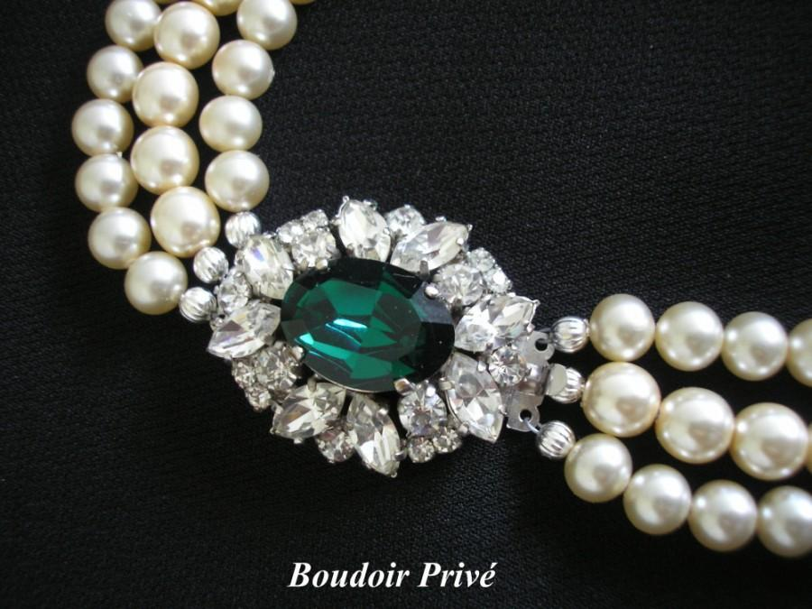 Wedding - Vintage 1950s Pearl And Emerald Rhinestone Necklace