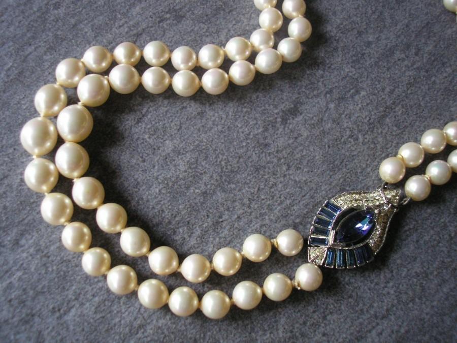 Wedding - Montana Sapphire Rhinestone And Pearl Necklace