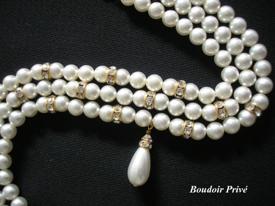 Wedding - Vintage 1980s 3 Strand Pearl Choker With Rhinestone Detail