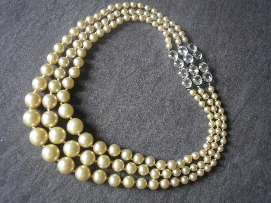 Wedding - Vintage Three Strand Pearls With Open Backed Bezel Set Crystal Clasp