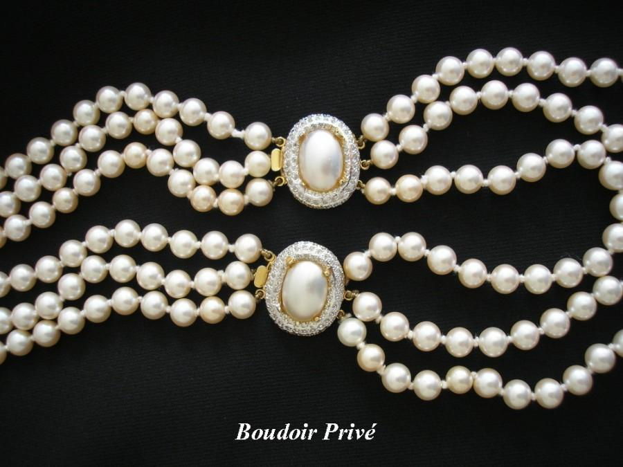Wedding - Long Vintage Pearl Necklace