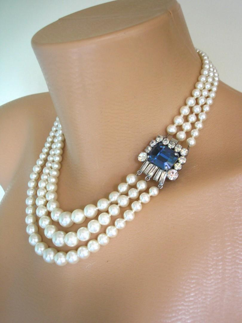Wedding - Vintage Ivory White Pearl and Montana Sapphire Necklace